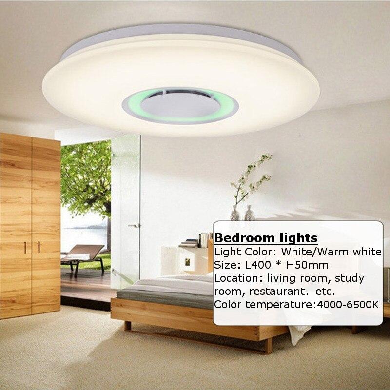 Smuxi приложение дистанционного потолочный Освещение с Bluetooth Динамик Smart LED лампы Музыка Свет Современный Потолочные светильники для детской ...