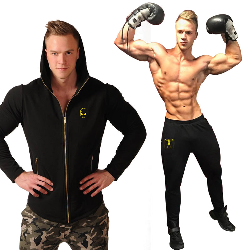 2018 Gyms New tracksuit men pants Sets Fashion body sweat suits brand heren kleding casual fitness Outwear jogger set ...