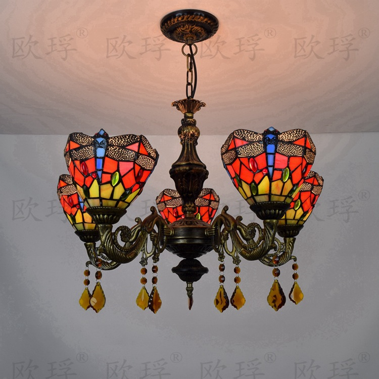 European Red Dragonfl5 heads dining room bedroom Crystal lamps Tiffany Stained glass Restaurant Pendant Lights 110-240V E27European Red Dragonfl5 heads dining room bedroom Crystal lamps Tiffany Stained glass Restaurant Pendant Lights 110-240V E27