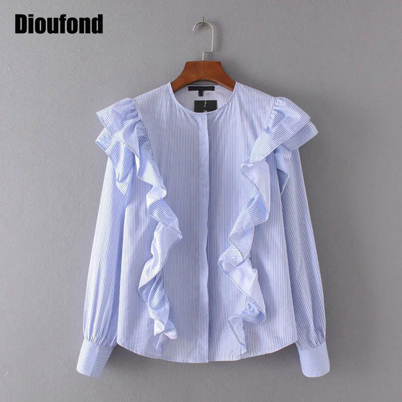 Dioufond ruffle blusas de las mujeres del verano de la raya azul de manga larga