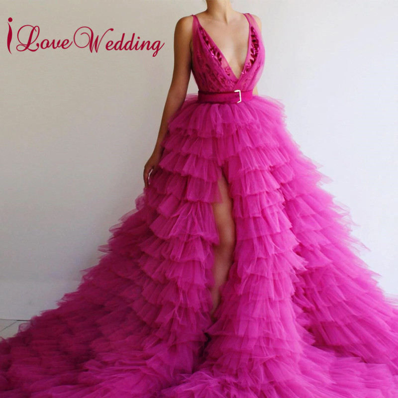 New Fashion 2019 Evening Dress Fuchia Layered Skirt A Line Prom Party Gown Sexy V Neck Elegant Lace Evening Gown