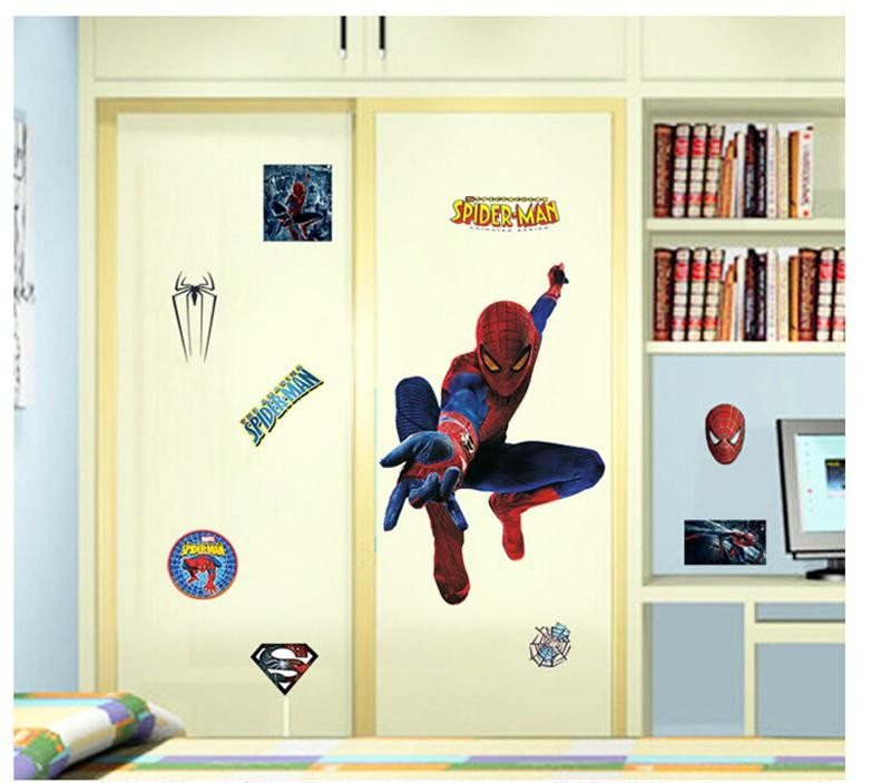 Hot Large Size Popular Cartoon HERO Spiderman Boy Birthday Gifts Kids Room Decoration Wall Sticker Home Party Decor Stickers