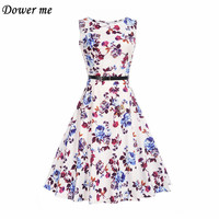 Hot Fashion Vintage Retro Big Swing Ladies Party Dress Female Elegant Printing Sleeveless Dresses YN810