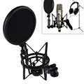 FW1S Microphone Mic Professional Shock Mount with Pop Shield Filter Screen