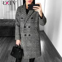 RZIV 2017 Winter Coat Women Jacket And Casual Lattice Double Breasted Long Plaid Coat