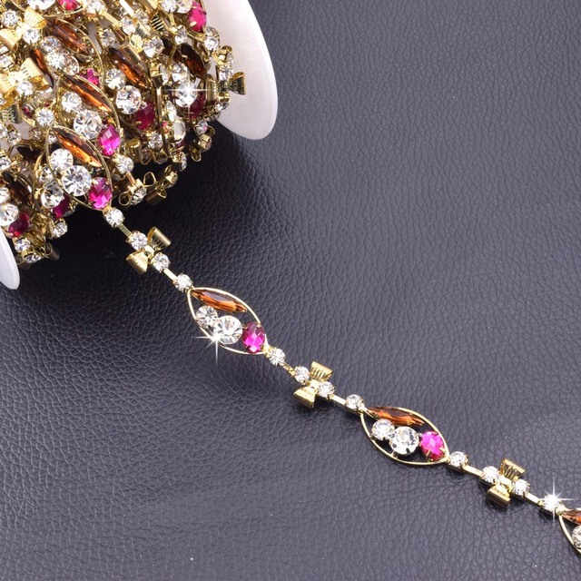free shipping 10 yards bridal sewing gold crystal rhinestone applique trim  sew on for wedding dress sash belt bowknot HY-055 33c7dfddf582