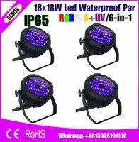 4 шт./лот 18 Вт 18 Вт RGBW Янтарный фиолетовый водосветодио дный стойкий LED Par Light 6in1 DMX 6/10 каналы высокое мощность Indoor/Outdoor Silent Рабочая