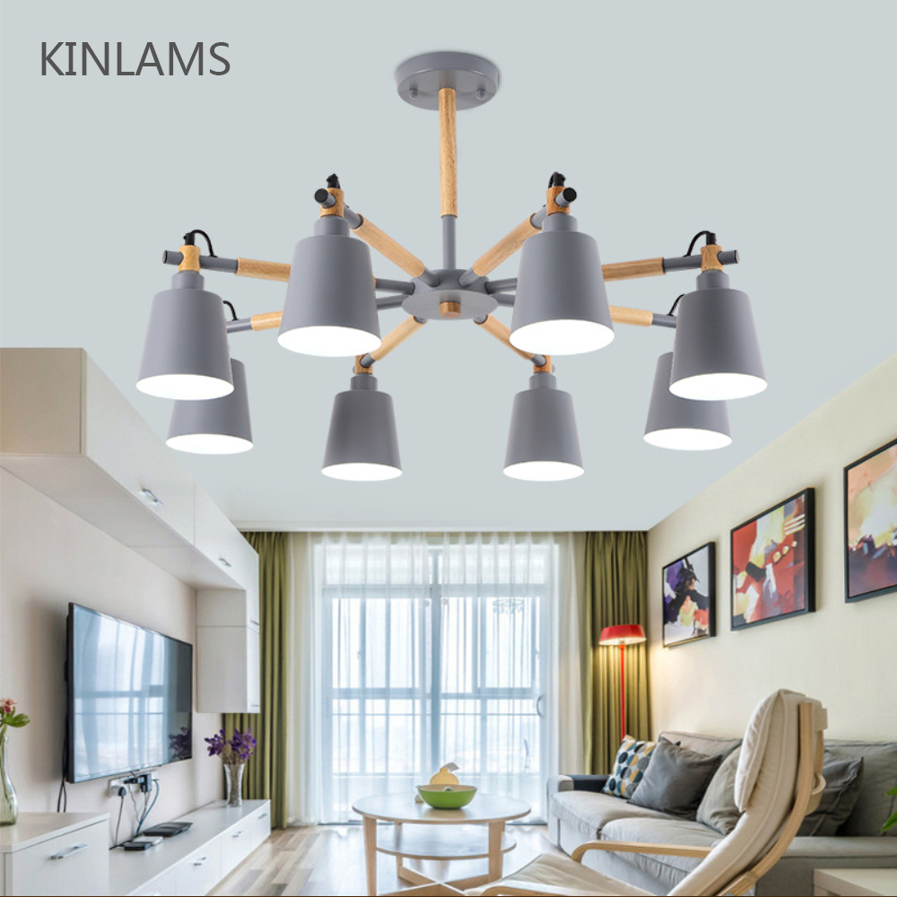 Modern simple 3 6 8 head solid wood Macron colorful LED chandelier lamp ceiling chandeliers lighting