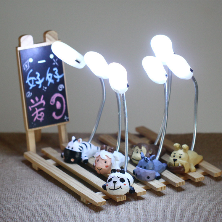 Art Deco Hand Made Cartoon Animal Base Cute Mini Book Lights Lovely Desk Table Reading L ...