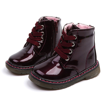 Kids Boots Martin 2020 New Snow Rubber for Children Girls PU Leather Winter Shoes Velvet Short Ankle - discount item  25% OFF Children's Shoes