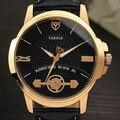 Yazole marca 365 homens de couro cinta relógio de quartzo luminosa simples moda casual relógios de pulso de negócios 2017 novo frete grátis