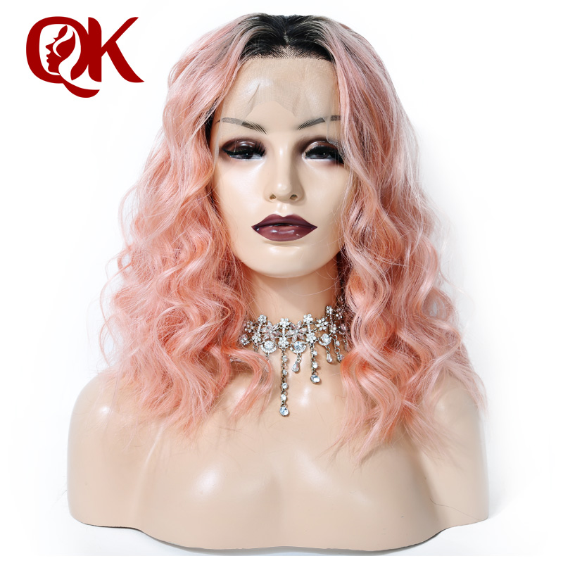 QueenKing hair Lace Front Human Hair Wig 180 density 1B Pink OMBRE Bob Wig Wavy Preplucked