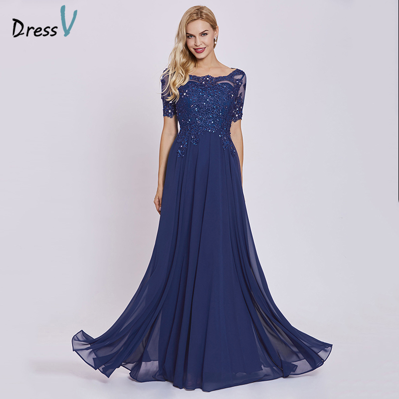 Dressv Dark Royal Blue Long Evening Dress Cheap Short Sleeves Appliques A Line Wedding Party Formal Dress Lace Evening Dresses