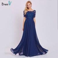 Dressv Dark Royal Blue Long Evening Dress Cheap Short Sleeves Appliques A Line Wedding Party Formal