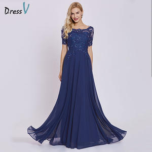 Dressv Short-Sleeves Wedding-Party Royal-Blue Cheap A-Line Long Dark Lace Appliques