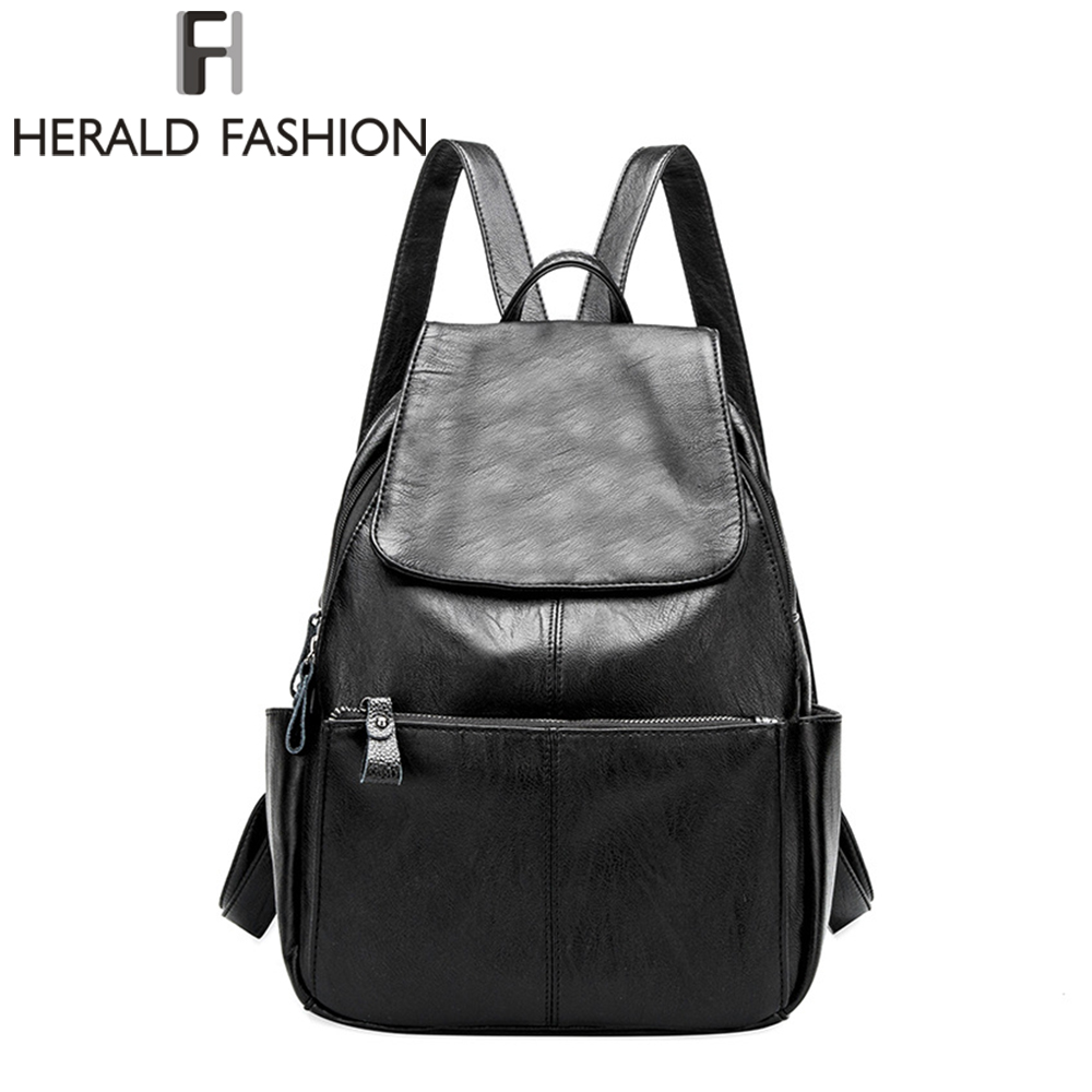 HERALD FASHION Litchi Pattern Genuine Leather Woman Backpack High Quality Casual Female Backpack School Bag for