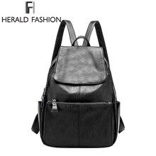 Herald Мода Личи шаблон Пояса из натуральной кожи женщина рюкзак высокое качество повседневная женская обувь школьная сумка-рюкзак для девочки-подростка