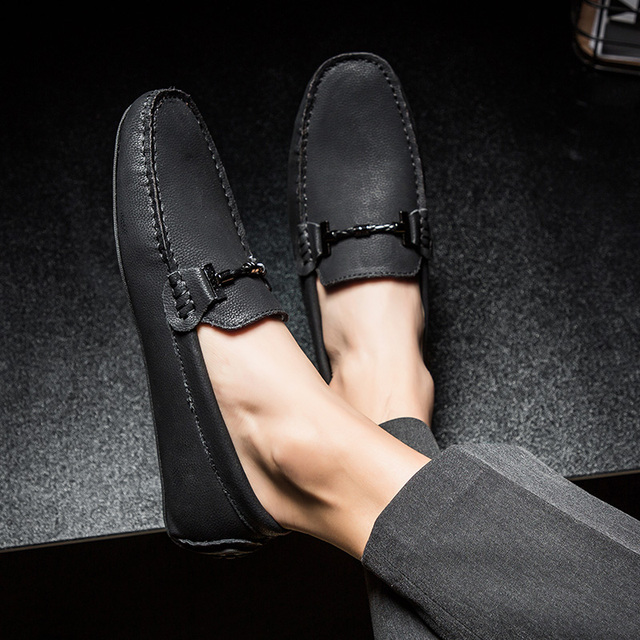 New Big Size 38-49 Men Casual Shoes Loafers Spring and Autumn Mens Moccasins Shoes Genuine Leather Men's Flats Shoes 2019