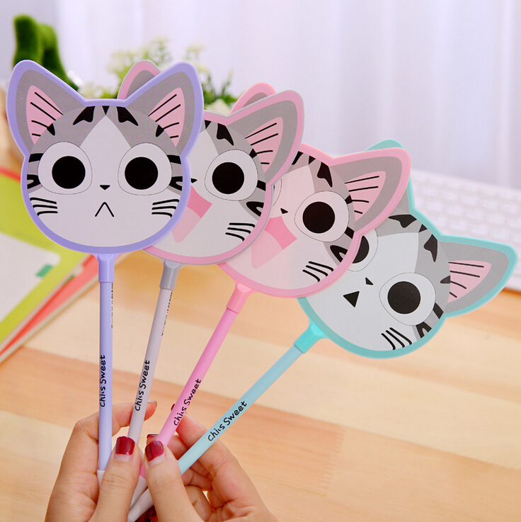 Q01 Cute Kawaii Fan Style Cool Cheese Cat Gel Pen Writing School Office Supply Student Prize Gift Stationery Signing Pen b32 4x cute kawaii black cat gel pen kawaii writing stationery creative gift school office supply 0 5mm