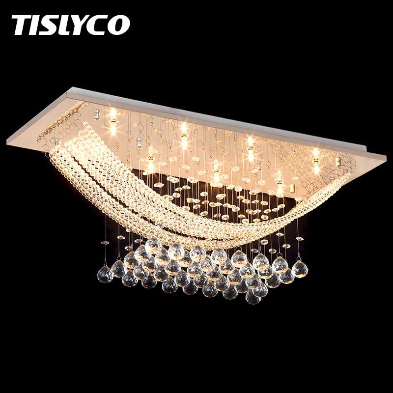 Luxuriant Cristal Lustre Luminaire Cristal Lumière Lustres de cristal pour Salon Plafond Lampe Livraison Gratuite