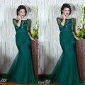 De color verde oscuro vestidos de noche Scoop escote rebordear lentejuelas encaje apliques plisados sirena piso vestidos largos de noche árabe