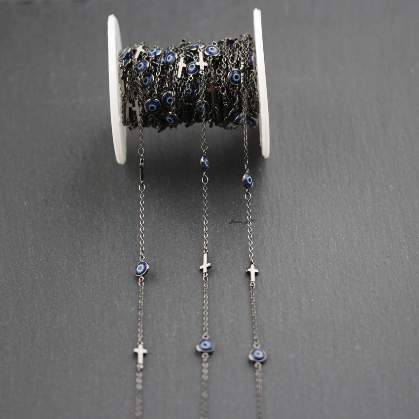 6mm,Dark Blue Evil Eye Enamel Round Coin Beads Jewelry,Wire Wrapped Gun Black Plated Cross Copper Rosary Links Chain Necklace