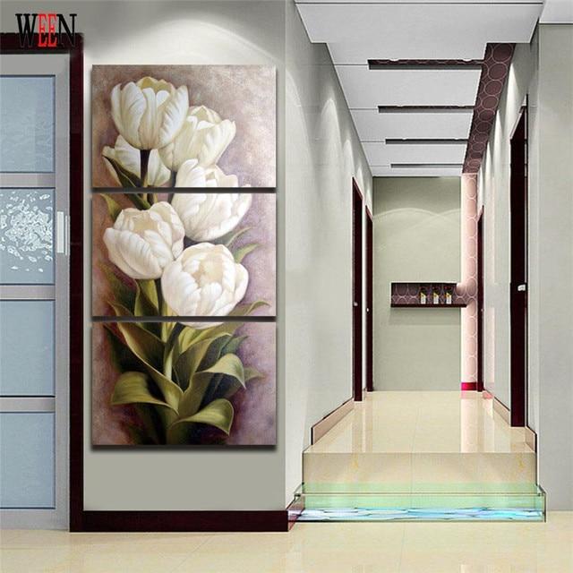 US $61.0 50% OFF|Ween weiße blume cuadros lienzos decorativos wandbilder  leinwand malerei mit gerahmte für wohnzimmer 3 stücke kunst direkt  übergeben ...