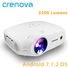 CRENOVA Android 7.1.2 OS Home Theater Projector With Wifi Bluetooth 3200 Lumens Video Projector HDMI VGA AV USB Beamer