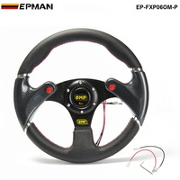 EPMAN-Novo 320 MM Amarelo Falou Volante Do Carro de Corrida Do Esporte PVC Firbre Carbono + Botão da Buzina EP-FXP06OM-P