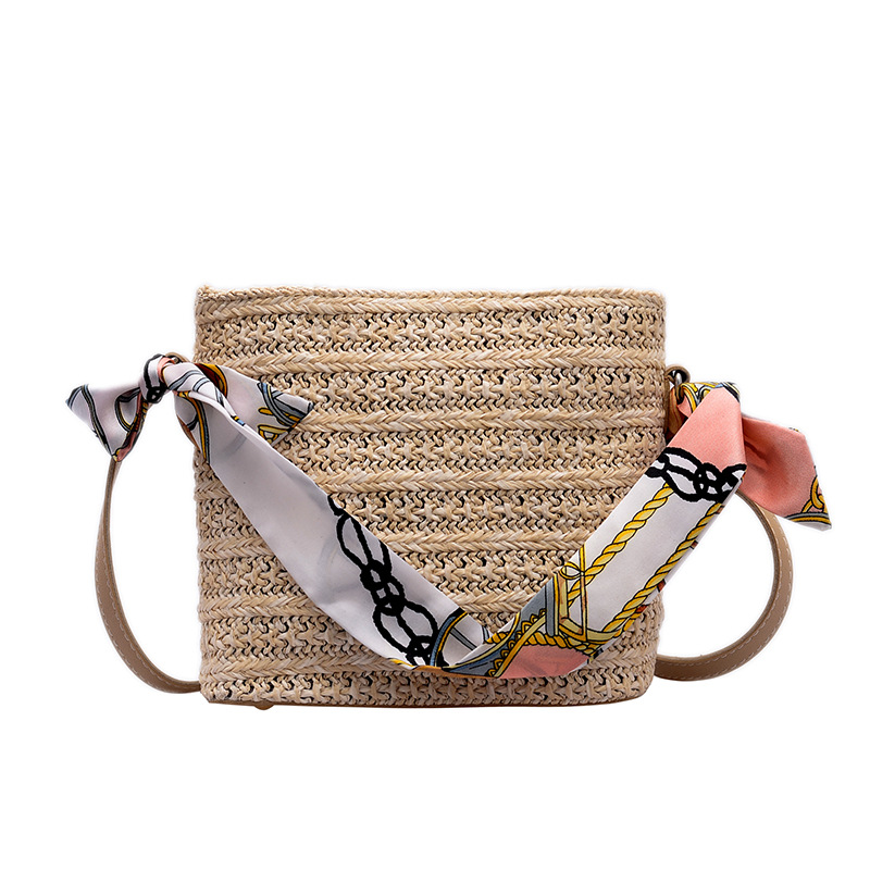 AOEO Women Handbags Fashion Shoulder Bag Summer Beach Straw Bag Silk Scarf Tassel Ladies Small Bag Woven Shoulder Bag Girl in Shoulder Bags from Luggage Bags
