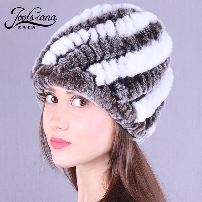 Joolscana  real fur hats for woman Winter cap  female beanie genuine rex rabbit knitted fur hat 2017  Russia new fashion цена 2017