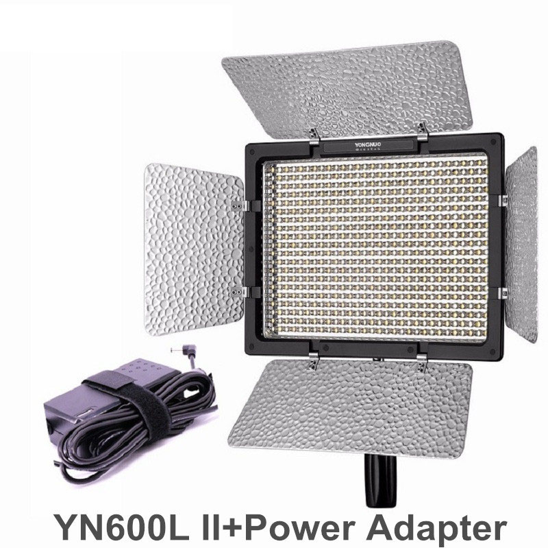YONGNUO YN600L II CRI95 LED Video Light Panel with AC Power Adapter Adjustable 3200K 5500K YN