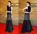 Lily Collins Two Piece Celebrity Dresses Party Evening Gowns 2016 Vestido De Festa Elegant Black Red Carpet Formal Prom Dress