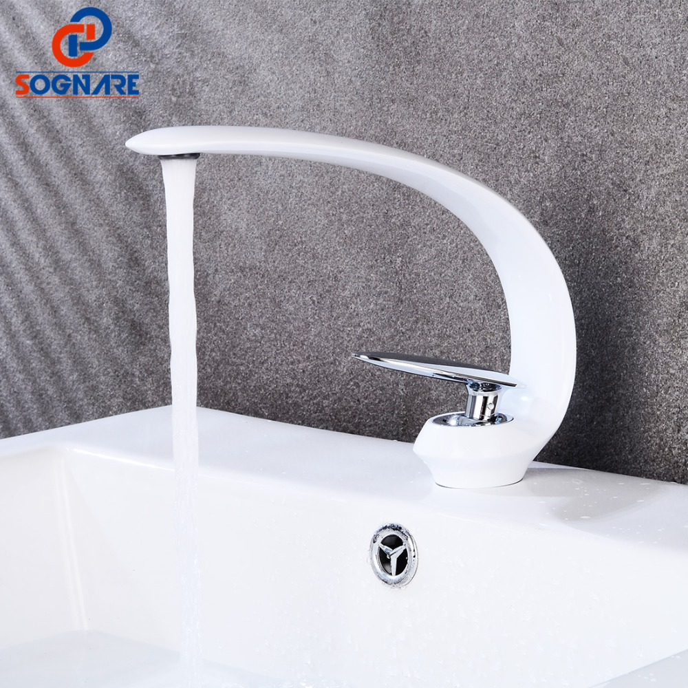 SOGNARE Basin Faucet for Bathroom Sink Faucet White Basin Mixer Water Tap Deck Mount Waterfall Sink