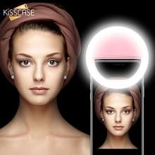 KISSCASE Selfie แฟลช LED เติมหลอดไฟแบบพกพาโทรศัพท์มือถือ LED Selfie แหวน Luminous คลิปสำหรับ iPhone สมาร์ทโฟน