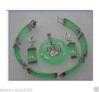 Schmuck Grünen stein Anhänger armband ohrring sets + kette>> uhr großhandel Quarz stein CZ kristall