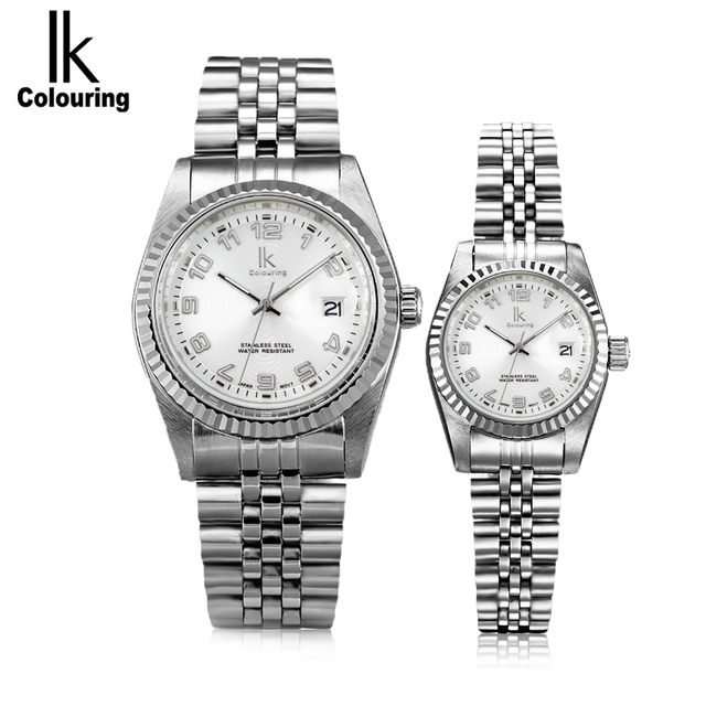 IK colouring Famous Luxury Brand Women Fashion Quartz Watch Couple Watch Ladies Watch 5ATM Waterproof Men's Watch Gift with Box