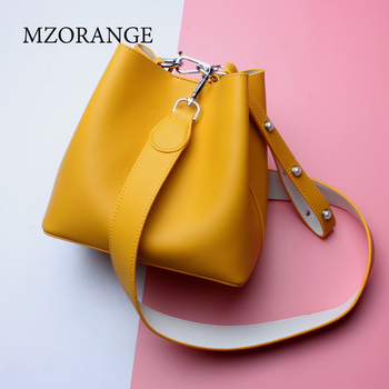 MZORANGEO Women's genuine leather handbags simple Spell color design Cowhide bag high quality Bucket bags Fashion women bags