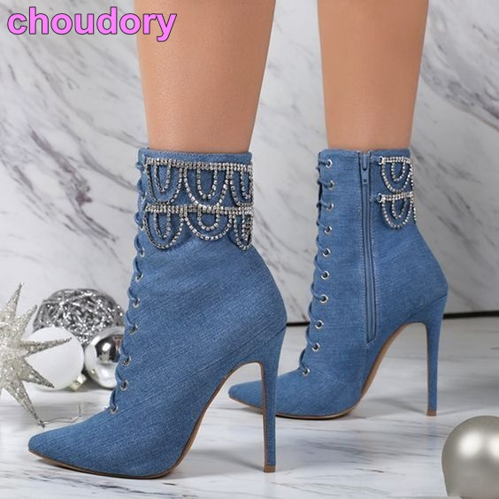5f863b3b24ca26 Chic bleu Jean bottines paillettes drapé cristal frange chaussures bout  pointu mince talon haut femmes chaîne chaussons élégant Denim chaussures  dans ...