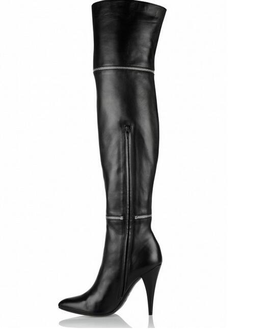 New Fashion Zip Cross Ladies Bright Black Leather Boots Sexy Point Toe Knight Style Women Over The Knee Boots Finger Heel Boots