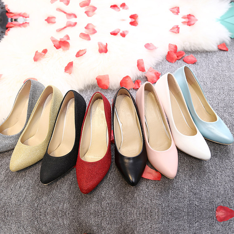 Plus size 34-43 Women Shoes High Heels Pumps Sequined Cloth Pointed Toe Pump White Wedding Shoes Spring Autumn Basic dress Shoes basic pump