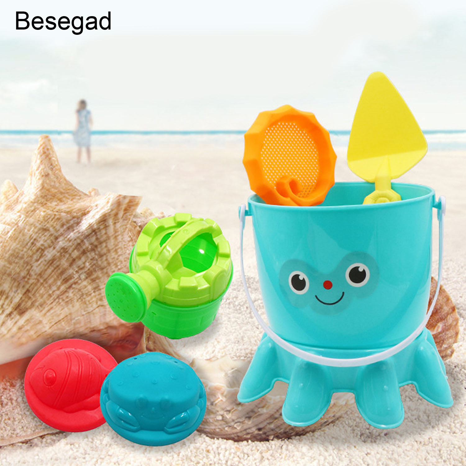 Besegad 6pcs Funny Beach Sand Game Toys Kit Kids Pretend Role Play Toy Playset Including Shovels Bucket Watering Pot Sand Model