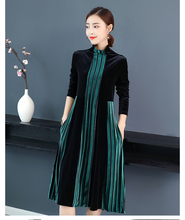 Pleuche dress new winter stripe half a turtle neck loose long sleeve velvet dresses women casual clothes plus size M -3XL