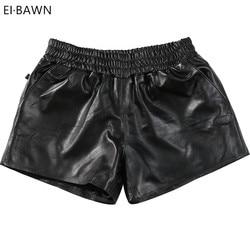 Frauen Echtes Leder Shorts Schwarz Elastische Taille Koreanischen Stil Weibliche Klassische Kurze Hosen Echt Schaffell Damen Mini Sexy Shorts