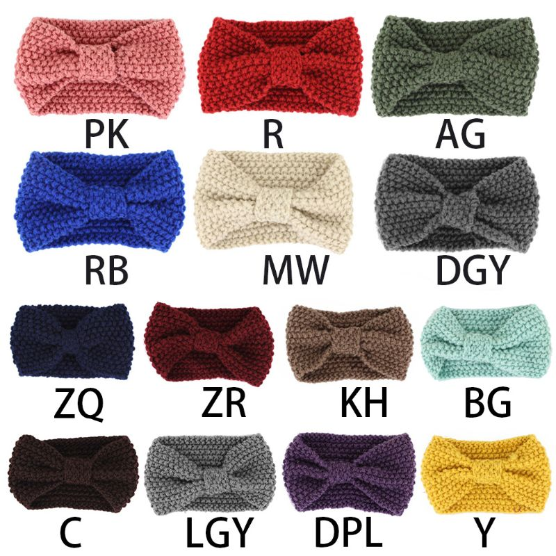 Womens Winter Solid Big Bow Knitted Headband Crochet Turban Wide Ear Warmer Wrap