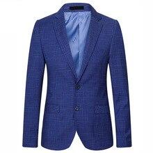 Для мужчин плед Пиджаки для женщин Slim Fit пиджак Марка Для мужчин S Бизнес Повседневное праздничная одежда Размеры S-2XL Королевский синий Сакко и смокинг костюм homme