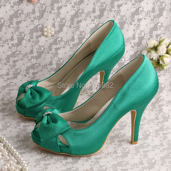 (20 Colors) High Quality Wedding Bridal Satin Shoes Green Satin High Heeled Open Toes Size 6