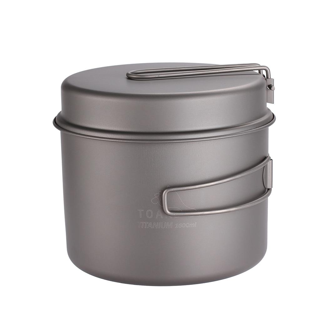 TOAKS Cookware Set Ultralight Titanium Ti Pot Frying Pan Outdoor Camping Titanium Bowl Titanium Cup Picnic 1600ml