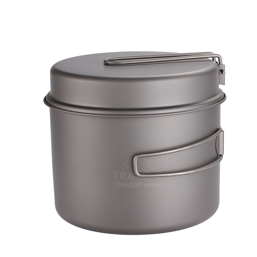 TOAKS batterie de cuisine ensemble ultraléger titane Ti Pot poêle en plein air Camping titane bol titane tasse pique-nique 1600 ml