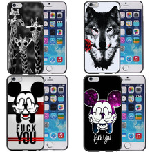 Cartoon animal giraffe lion tiger Wolf Mickey Mouse Hard Pattern Phone Case Cover For iPhone SE 5S 6 6SPlus 7 7Plus 8 8 Plus X